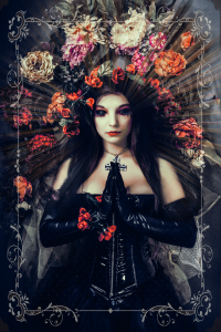 Fashion Photography shoot with Dark Beauty Gothic Girl with Flowers and Black Corset
