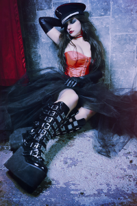 Fashion Photography Gothic shoot with Red Corset and Black Boots