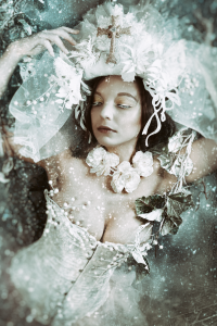 Winter Queen with Cross Headdress and snow